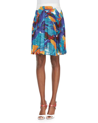 Hoki Pleated Flying Birds-Print Skirt