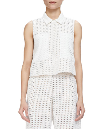 Cisco Sleeveless Eyelet Top W/ Pockets