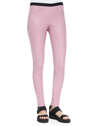 Stretch Plonge Leather Leggings, Rind