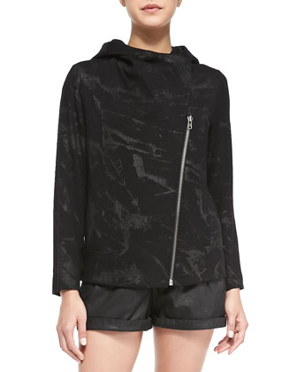 Tera Printed Front-Zip Sweater Jacket