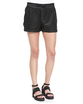 Abrade Coated Rolled-Cuff Shorts, Black