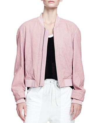 Furrow Leather Bomber Jacket