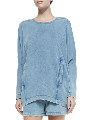 Denim Dropped-Sleeve Sweatshirt w/ Pockets