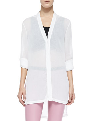Swift Tab-Sleeve Tunic Top, Optic White