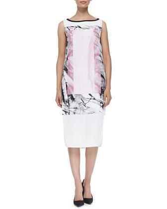 Mason Marble-Print Dress W/ Cutaway Sides