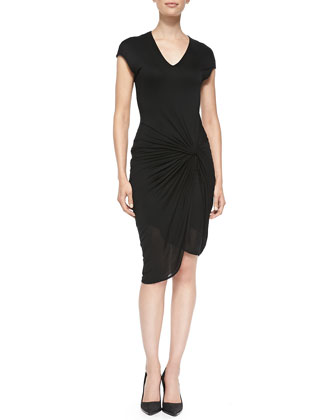 V-Neck Jersey Dress W/ Twist, Black