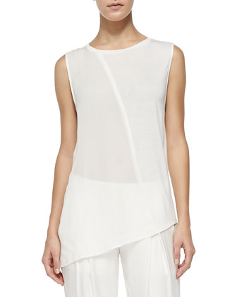 Asymmetric Georgette/Slub Sleeveless Top