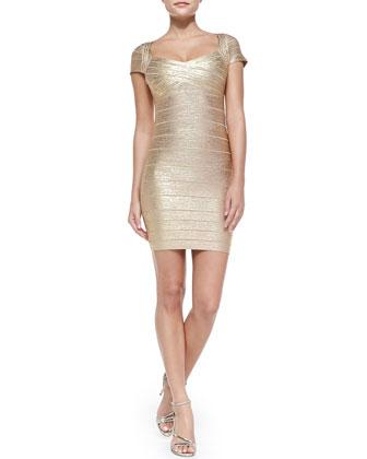 Cap-Sleeve Metallic Bandage Dress, Gold