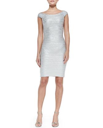 Off-the-Shoulder Metallic Sheath Dress, Silver