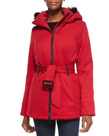 Cortina Fur-Hood Parka, Red