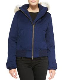 Siena Fur-Hood Bomber Jacket, Navy