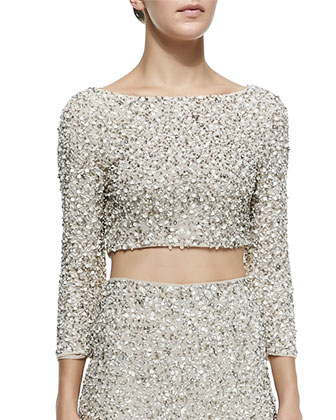 Lacey Beaded Sequined Crop Top