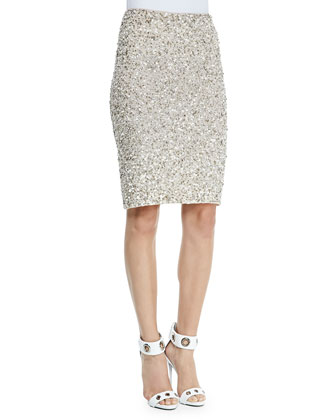 Ramos Beaded Sequined Pencil Skirt