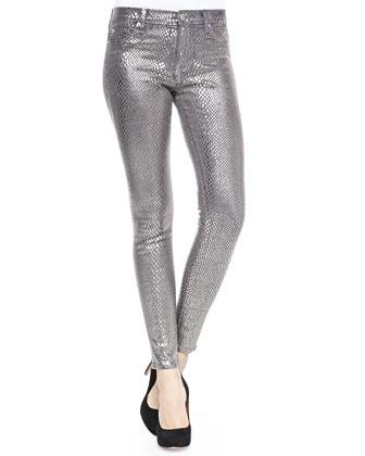 Nico Metallic Printed Skinny Pants, Silver Snake