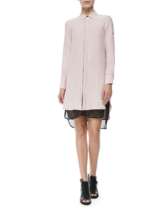 The Shirtdress with Double-Layer Hem, Antique Rose