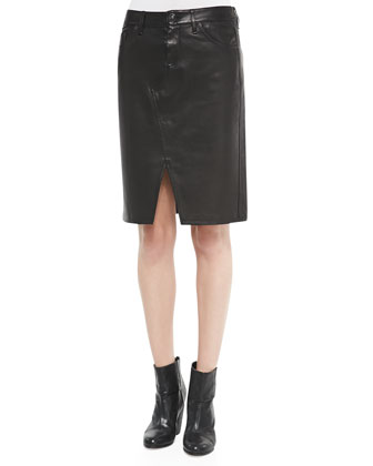 Tampa Leather Scissor-Front Skirt