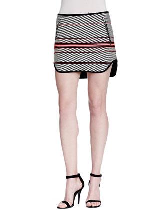 Bess Striped Zip-Pocket Skirt