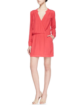 Long-Sleeve Dress W/ Crossover Front