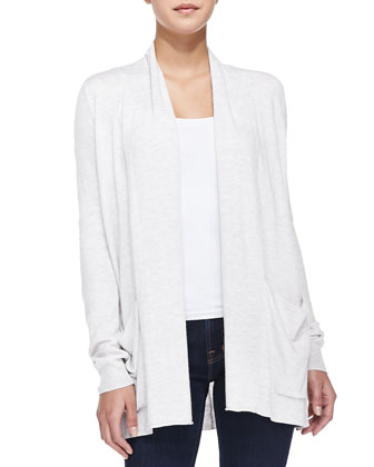 Long Open-Front Cardigan with Pockets