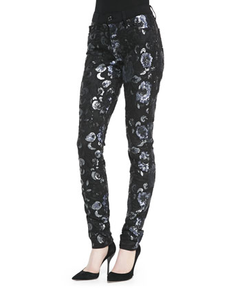 Skinny Sequined Floral Jeans