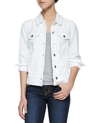Raw-Edged Jacket W/ Pearlized Buttons, White Fashion