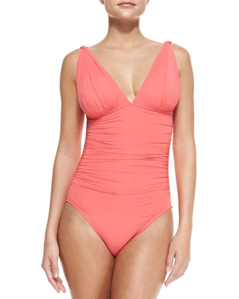 Mediterranean Solids Ruched Maillot Swimsuit, Coral