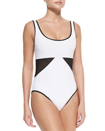 Scoop-Neck Swimsuit W/ Geo Panels