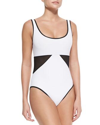 Scoop-Neck Swimsuit W/ Geo Panels