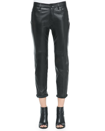 Casey Leather Boy-Fit Jeans, Black