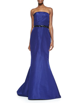 Strapless Mermaid Gown with Beaded Belt, Navy