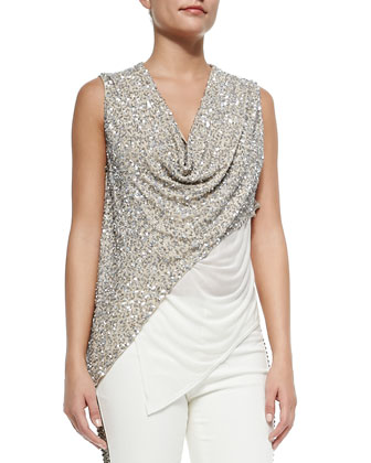 Cropped Beaded Cowl Tank