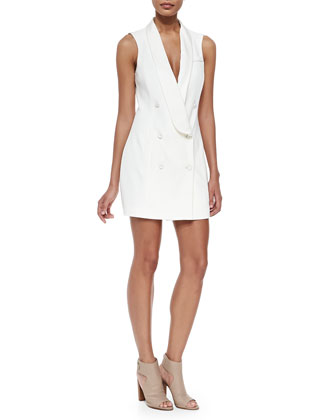 Sleeveless Double-Breasted Tux Dress
