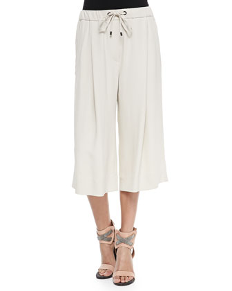 Pleated Silk Crepe Culottes