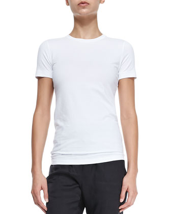 Short-Sleeve Stretch Cotton T-Shirt, White