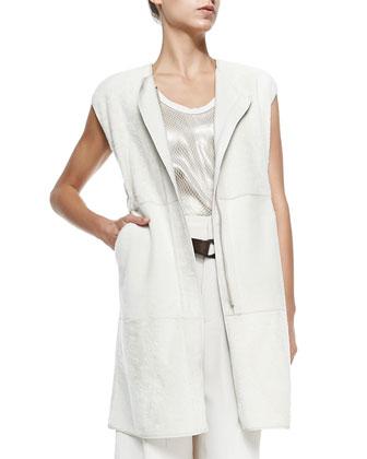 Long Velour Shearling Fur Vest