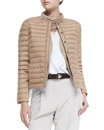Puffer Jacket with Monili Placket