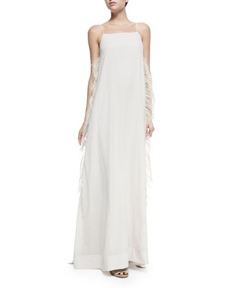 Strappy Gown w/ Ostrich Feather Sides