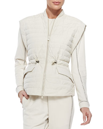 Stripe-Quilted Tech Fabric Vest, Vanilla