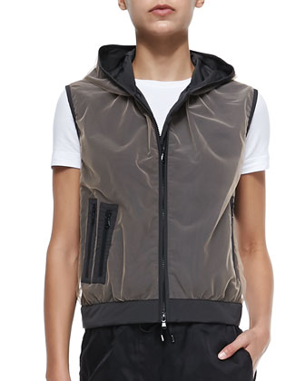 Tulle-Over-Taffeta Vest with Hood, Chalkboard
