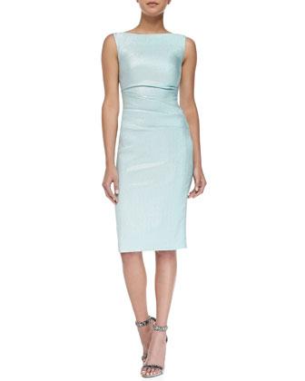Dowina Side-Ruched Glazed Check Sheath Dress