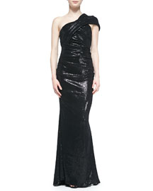 Sequined Gown W/ Draped Neck