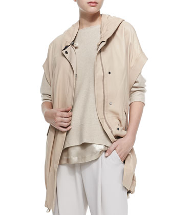 Leather Anorak Vest with Hood, Peanut
