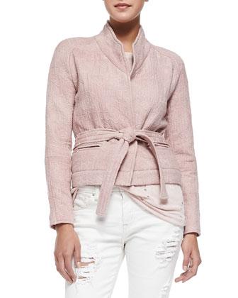 Hawaii Stand-Collar Jacket W/ Tie Belt