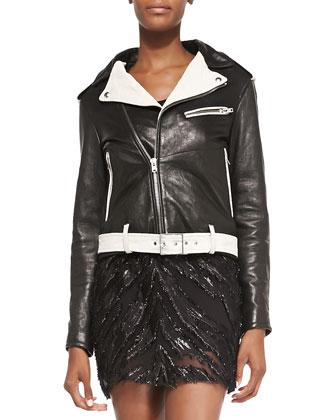 Wamiel Contrast-Trim Leather Jacket