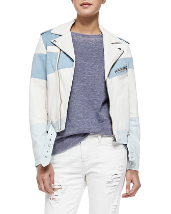 Willi Banded Leather Moto Jacket