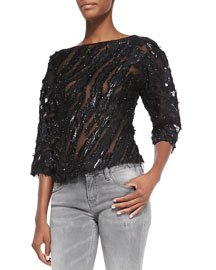 Ornela Sequin/Sheer Striped Top