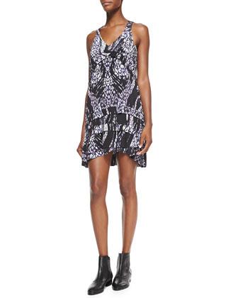 Frigye Printed Tiered-Skirt Dress