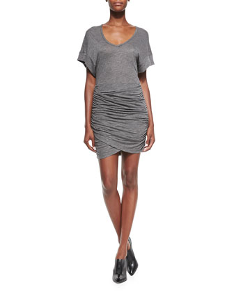 Ginger Ruched-Skirt Slub Dress
