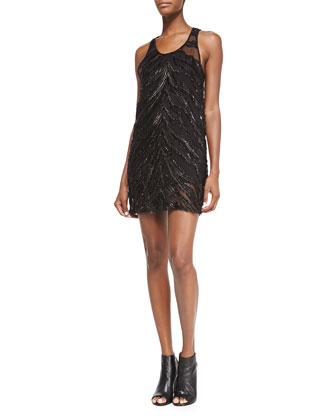Orelie Beaded Sleeveless Chiffon Dress