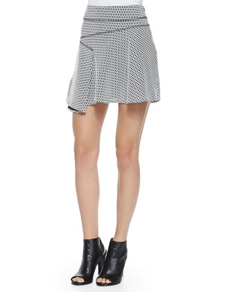 Printed Flared Skirt W/ Side Ruffle